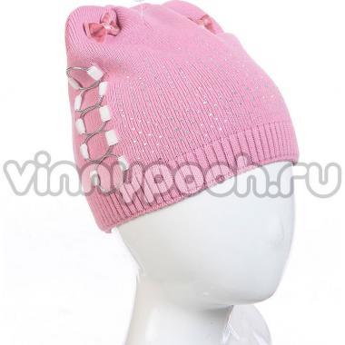 """Демисезонная шапка AMARY для девочки """"Банты"""" (грязно-розовый), 4-8 лет"""