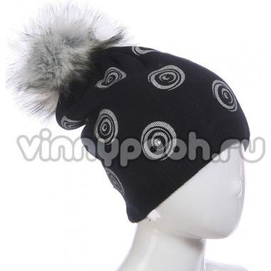 Зимняя шапка AGBO для девочки ISKIERKA (черный), 8-14 лет