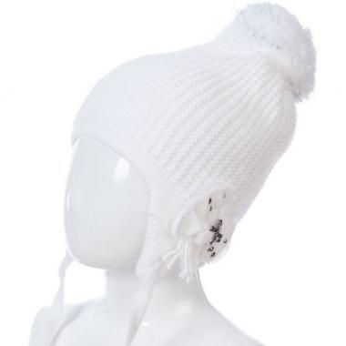 Зимняя шапка BARBARAS для девочки АЛЕНУШКА (белая), 5-8 лет