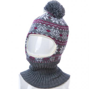 Шапка-шлем Kolad для девочки с орнаментом (серая), 4-7 лет
