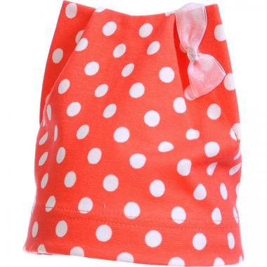 Хлопковая весенняя шапка для девочки в горошек (коралл), 2-5 лет