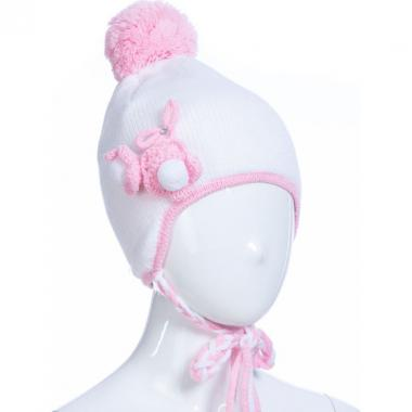 Зимняя шапка AGUTI для девочки с косичками (белая), 2-4 года