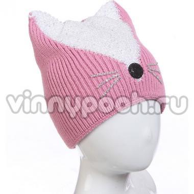 """Шапка на флисе AMARY для девочки """"Кошка"""" (розовый), 5-10 лет"""