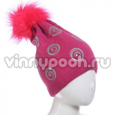 Зимняя шапка AGBO для девочки ISKIERKA (фуксия), 8-14 лет