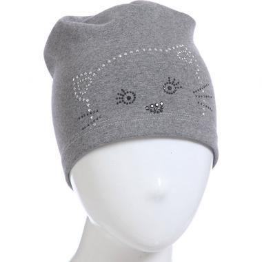 Хлопковая шапочка для девочки с рисунком (серый), 4-8 лет