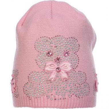 Весенняя вязаная шапочка для девочки с рисунком (розовая), 3-6 лет