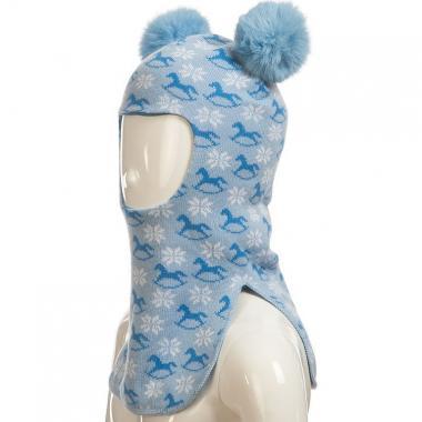 Шапка-шлем ПриКиндер для девочки с манишкой (голубая), 5-7 лет