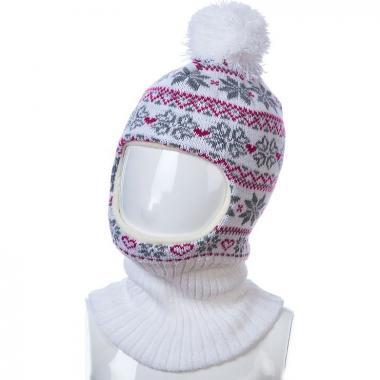 Шапка-шлем Kolad для девочки с орнаментом (белая), 4-7 лет
