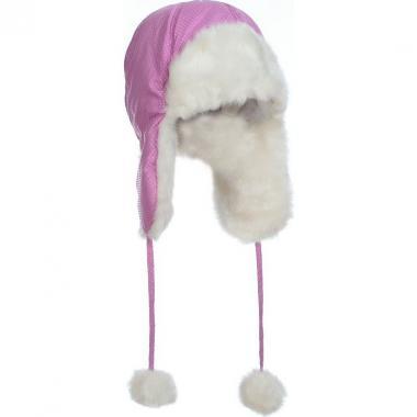 Меховая шапка для девочки МОЗАИКА (сиреневая), 6-9 лет
