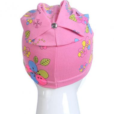 Хлопковая весенняя шапка для девочки ЦВЕТЫ (розовая), 4-8 лет