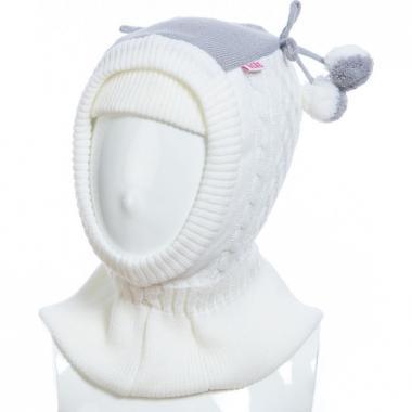 Шапка-шлем TUTU для девочки комбинированная (белая), 2-4 года