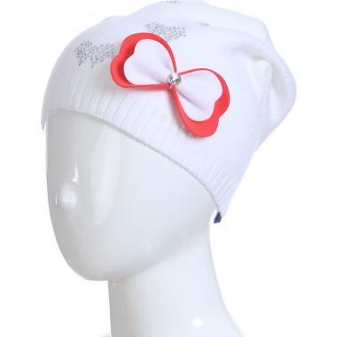 Весенняя шапка для девочки НИКОЛЬ (белая), 5-9 лет