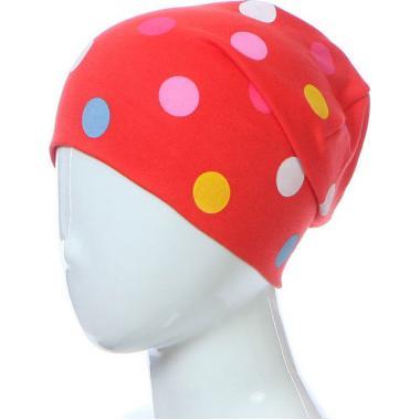 Хлопковая шапочка для девочки в горох (красная), 5-9 лет