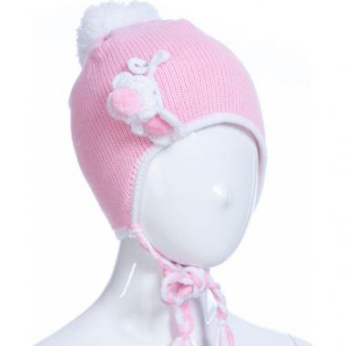 Зимняя шапка AGUTI для девочки с косичками (бледно-розовая), 2-4 года