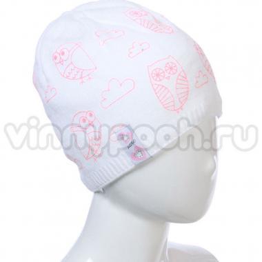 Весенняя шапка AGBO для девочки CHMURKA (белый/персик), 5-10 лет