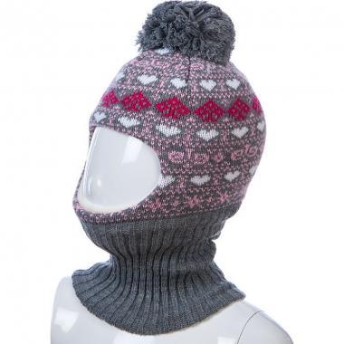 Шапка-шлем Kolad для девочки с сердечками (серая), 2-3 года