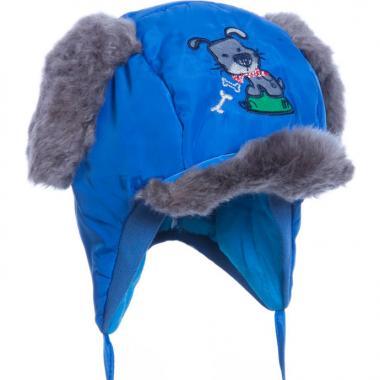 Шапка для мальчика SFY HAT с меховыми ушками (электрик), 0,5-1 год