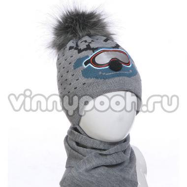 """Комплект для мальчика AGBO с шарфом """"RENIFER""""(серый), 2-4 года"""