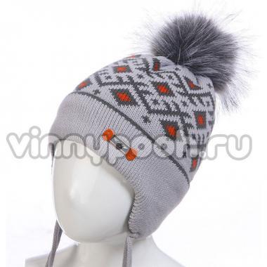 Зимняя шапка для мальчика с орнаментом (серый/красный), 3-5 лет