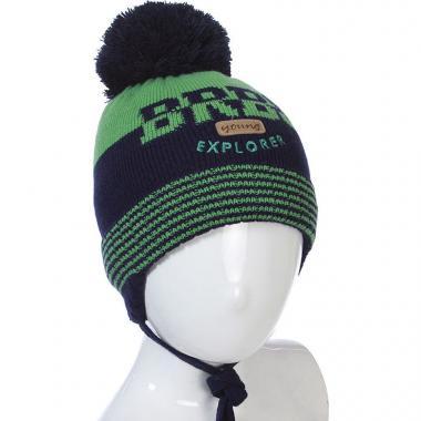 Шапка BARBARAS для мальчика двухцветная (зеленая), 1-4 года