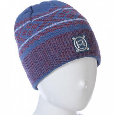 Весенняя шапка AGBO для мальчика PIOTREK (джинс/красный), 9-14 лет