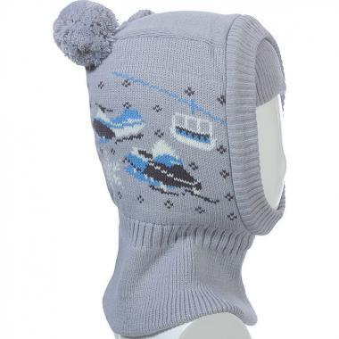 Шапка-шлем TUTU для мальчика Снегоход (светло-серая), 2-4 года