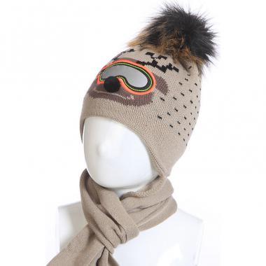 """Комплект для мальчика AGBO с шарфом """"RENIFER""""(капучино), 2-4 года"""