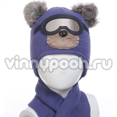 """Комплект для мальчика AMBRA с очками и шарфом """"Мишка""""(синий), 1,5-3 года"""