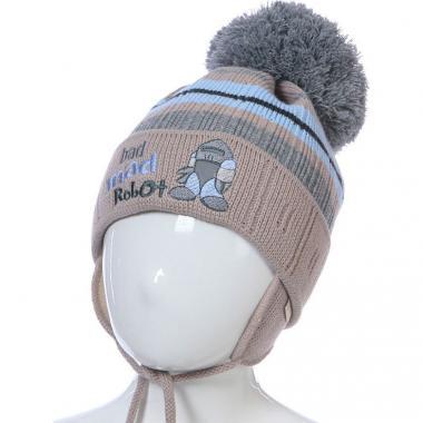 Зимняя шапка Achti для мальчика ROBOT (бежевый/голубой), 1-3 года