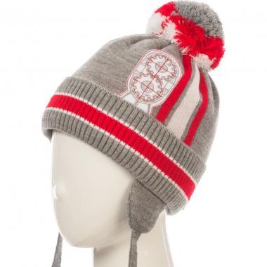 Зимняя шапка HILLTOP для мальчика HIP1725 (серый/красный), 3-5 лет