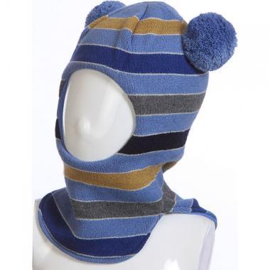Шапка-шлем AMAL для мальчика в полоску (голубой/синий), 5-8 лет
