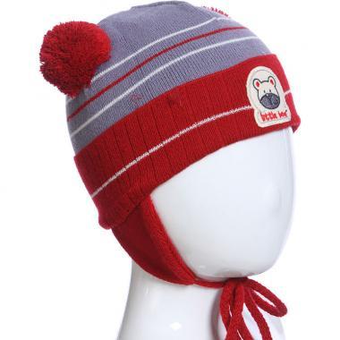 Весенняя шапка AGBO для мальчика MISH (бордо/серый), 1-2 года
