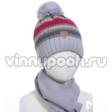 Зимний комплект AGBO для мальчика MIETEK с шарфом (серый/бордо), 6-10 лет
