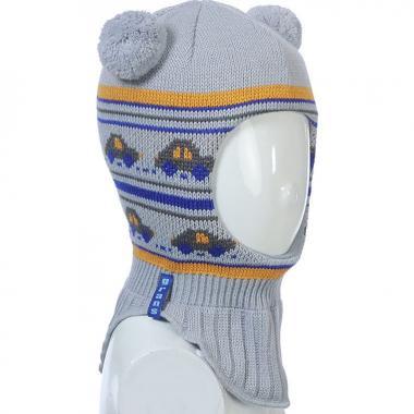 Шапка-шлем GRANS для мальчика на изософте (серый/горчица), 2-4 года