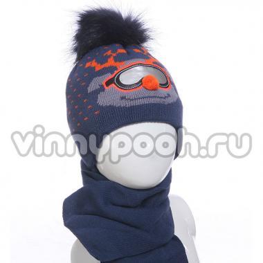 """Комплект для мальчика AGBO с шарфом """"RENIFER""""(грязно-синий), 2-4 года"""