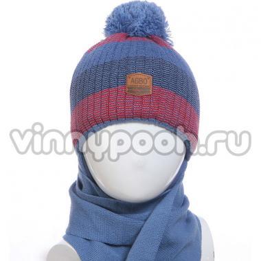 Зимний комплект AGBO для мальчика TARKAWIAN с шарфом (джинс/красный), 3-5 лет