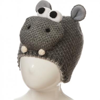 Зимняя шапка OSTA для мальчика БЕГЕМОТИК (серая), 9-16 лет