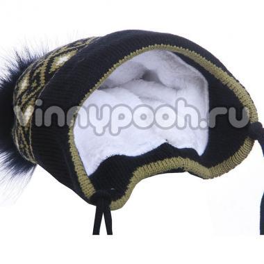 Зимняя шапка для мальчика с орнаментом (синий/хаки), 3-5 лет