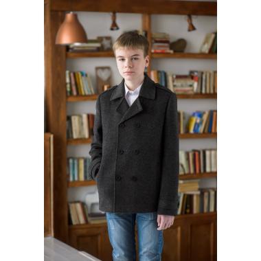 Демисезонное полупальто Mamma Mila для мальчика (черный/серый), 7-15 лет