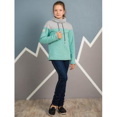 Свитшот АВРОРА детский ТИМС (мята/серый меланж), 6-13 лет