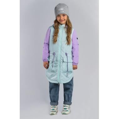 Весенняя куртка-парка BOOM! by Orby для девочки (мятный/сиреневый), 3-15 лет
