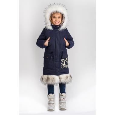 Зимнее пальто BOOM by ORBY для девочки (синий), 3-15 лет