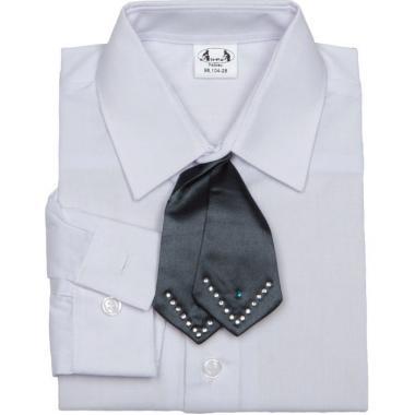 Праздничная рубашка MONOMAH для мальчика с галстуком (белая), 3-7 лет