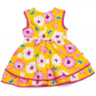 """Хлопковое платье для девочки """"Бабочки"""" (желтое), 1-5 лет"""