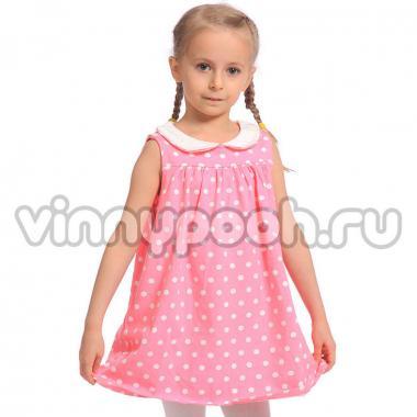 Платье для девочки Mini-Maxi в горошек (розовый), 2-6 лет