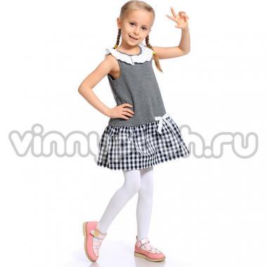 Платье для девочки Mini-Maxi с бантиком (серый), 2-6 лет