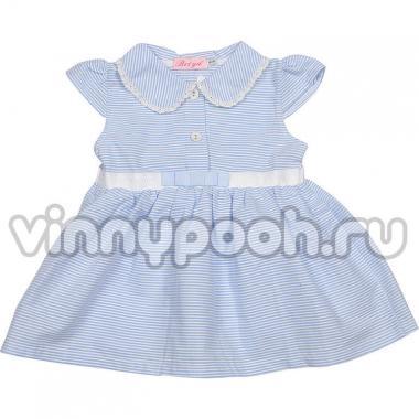 Хлопковое платье для девочки (голубой), 2-6 лет