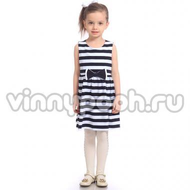 Платье для девочки Mini-Maxi в полоску с бантиком (синий/белый), 3-6 лет
