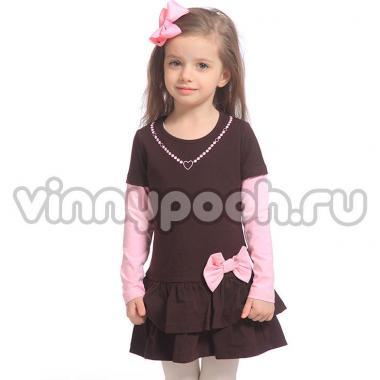 Платье для девочки Mini-Maxi (коричневый/розовый), 3-7 лет