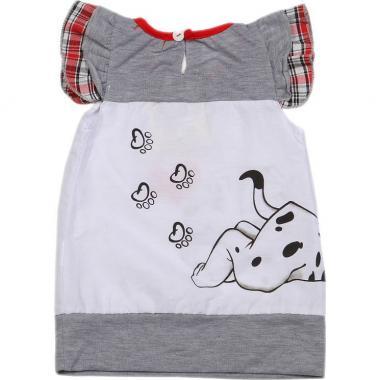 Трикотажное платье-туника для девочки LOVE (белое), 9 мес-3 года